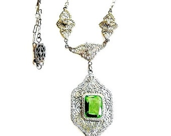Early Art Deco Peridot Glass Lavaliere Necklace Paste Accents