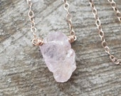 Raw Spinel Necklace, Rose Gold, Blush Pink Spinel, Rough Gemstone Jewelry, Raw Crystal, Rustic Gemstone Necklace, Boho Chic Pastel Pink