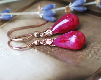 Teardrop Ruby Earrings   Rosé Red Ruby Smooth Full Briolettes in 14k Rose Gold Filled Dangles   July Birthstone   Gift Ready to Ship