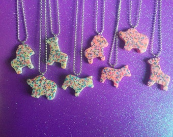 Frosted Animal Cookie Necklaces
