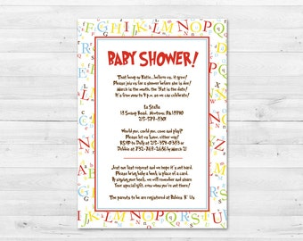 Dr. Suess Baby Shower Invitation Alphabet Letters