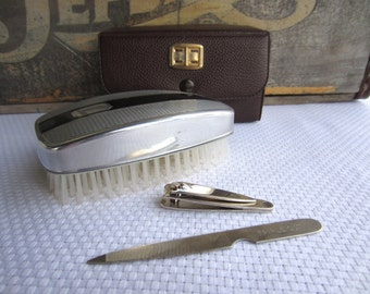 Vintage Grooming Brush Silver Black and Nail Kit with Case