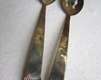 Vintage Three Crown Beaded Silverplate Serving Set Spoon and Fork