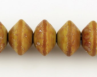 Lampwork Beads Set Etched Matte Rustic Brown Glass Saucer with Silver