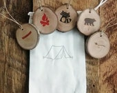 Camping Party Favor Bags  10 Cotton Bags with Tree Slice Tag