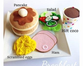 """Etsy Pretend Felt food Play food  Kids holiday gift  """"Breakfast set """""""