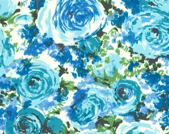 "Blue Packed Floral Cotton Poplin, Gertie by Gretchen Hirsch Fabric, 43"" wide, 1 yard"