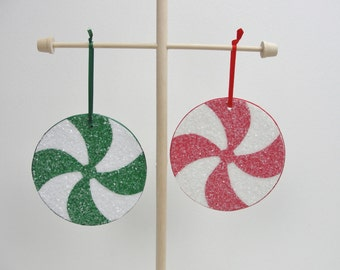 """Candy ornaments, peppermint candy 4"""" ornament.  Choose 2"""