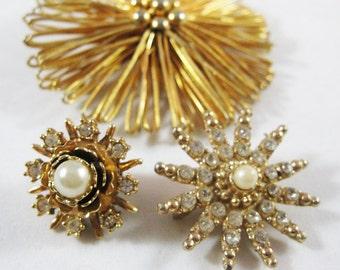 Vintage Gold Starburst Pin Trio