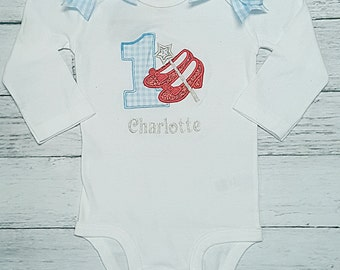 DOROTHY RUBY SLIPPERS  Red Shoes Age 1 1st Birthday Blue and White Gingham Birthday Onesie Bodysuit One Piece