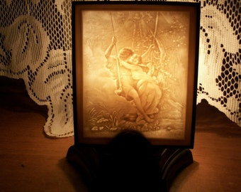 Edwardian Porcelain Lithograph Nightlight Reproduction Mint Cond Brand New in Org Box