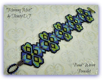 TB-093-2016-142 - Morning Mist - Peyote Stitch Bracelet,  Beadweaving Bracelet, beadwork bracelet, beaded bracelet