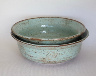 teal green stoneware bowls, set of two