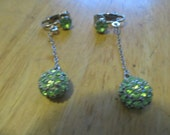 Vintage costume jewelry   /  green rhinestone earring  /  HOLD FOR BEADYSUSAN