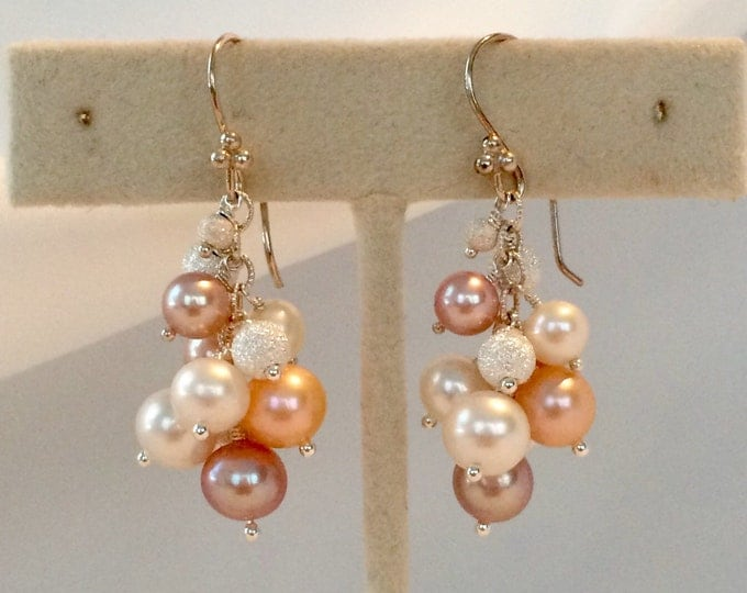 Multicolored Champagne Pink Blush Colored Freshwater Pearls Cluster Earrings in Sterling Silver