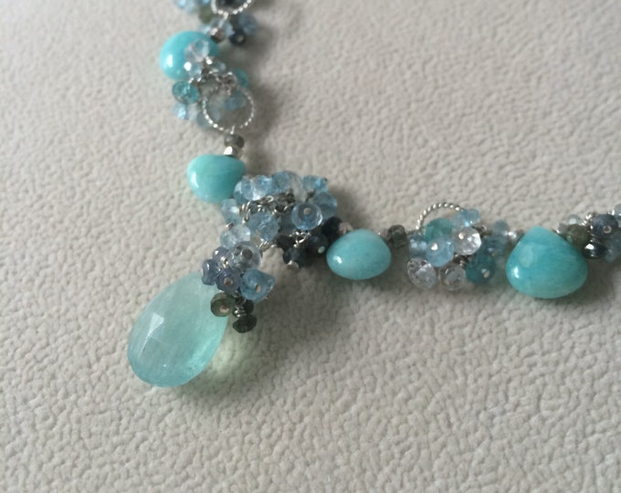 Gemstone Necklace in Sterling Silver with Aquamarine, Amazonite, Apatite, Blue Sapphire, Sky Blue Topaz, Natural Topaz