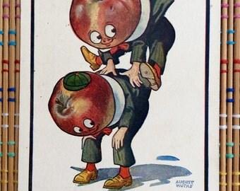 Vintage Postcard Set:  Anthropomorphic Apples