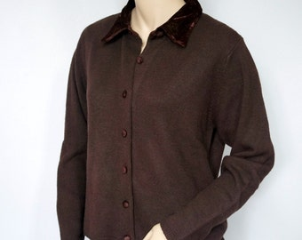 Vintage Sweater Cardigan Chocolate Brown Button Front Velvety Collar Size Large