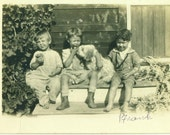 Can I Have a Bite Puppy Dog With Small Boys Eating Sitting on Porch Steps 1920s CA Antique Vintage Black and White Photo Photograph