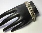 Vintage Rhinestone Bracelet with Safety Chain
