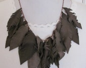 Beautiful Dark Brown Suede Leather Feather Style Necklace