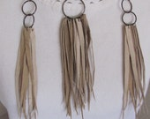 Beautiful Beige Soft Suede Leather Fringe Necklace and Earring Set