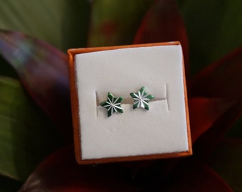 Atomic Starburst Stud Earring Set in Lucky Green & Silver- Vintage Cabochons!