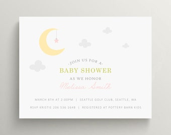 moon and star baby shower invitation set // baby announcement // birthday invitation // modern invite // stars // twinkle