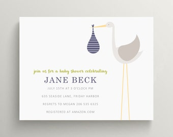 large stork baby shower invitation set // delivery stork // special delivery // baby announcement // note card // simple // gender neutral