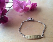 Kids Brass and sterling silver mixed metal ID bracelet (with custom stamping option)