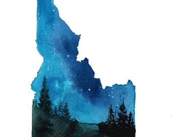 Idaho, print from original watercolor by Jessica Durrant from Painting the 50 States Project.