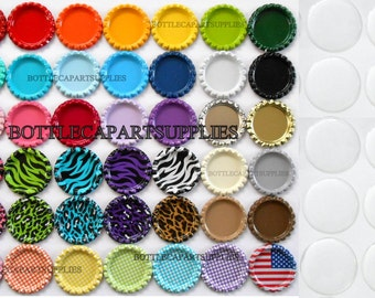 "100 pc Clear 1"" Epoxy Resin Adhesive Circles Bottle Cap Seal Stickers and Double Sided FLAT 100 COLORED Bottle Caps You choose"