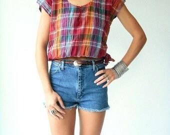 50% OFF SALE... Vintage 80's Crop Top Rainbow Plaid Blouse / Crinkle Gauze Shirt  / Side Tie