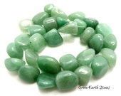 16 Inch Strand Green Aventurine Nuggets, Supplies, Arts & Crafts, Crystal Healing, Artisan, Large Nuggets, Beads
