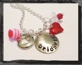Valentine Necklace Personalized Handstamped Custom Jewelry Valentines Day Necklace #V8