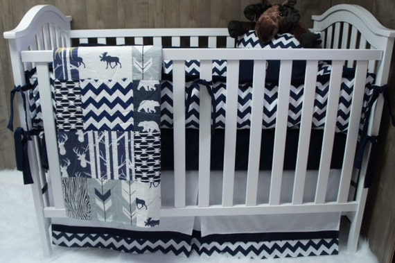 Baby Boy Nursery Bedding Set Baby Woodland Deer Moose
