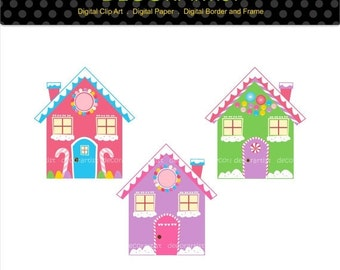 ON SALE Christmas clipart,candy house clipart,chirstmas gingerbread clipart, gingerbread house clipart, digital clipart, instant download