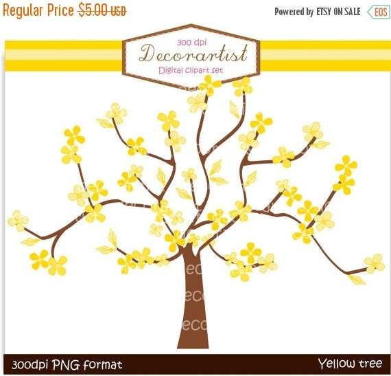 ON SALE Tree clip art, yellow tree and butterflies clip art, instant download