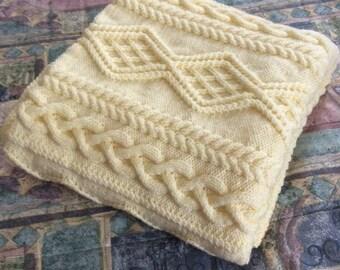 SALE, Chunky Hand Knit Blanket, Cream 50x60
