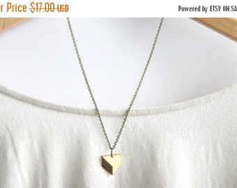 MOTHERS DAY SALE Geometric Necklace // Brass Modern Geometric Necklace // Chevron Charm Necklace // Layering Necklace