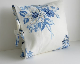 One Handmade white and blue Linen fabric Tied Pillow Cover