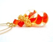 Red and Yellow Hand Blown Glass earrings - 14K gold filled earwires
