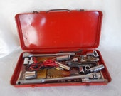 Vintage Metal Toolbox With Ratchet Socket Pieces and Small Tools