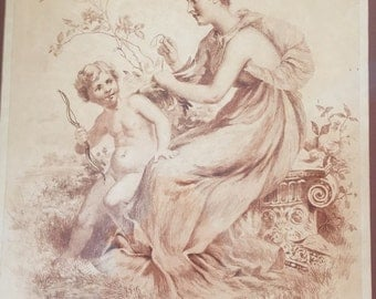 Joseph Lauber sepia etching of maiden and angel