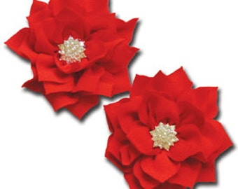Shimmering Pointed Petal Flower - Cadmium Red