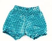 Shorties- Teal Blue Mermaid Shorties / Bummies