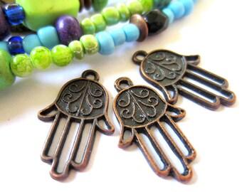 12 Hamsa hand charms antique copper hamsa pendants metal connectors 22mm x 14mm hand of Fatima  copper charm 23356