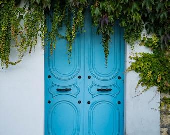 Paris Door Photo France Print Paris Decor Blue Aqua Vintage Apartment Photograph Wall Art Home Decor par131