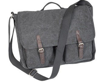 Monogrammed Messenger Bag/Grey Washed Canvas/Perfect for Graduation Gifts