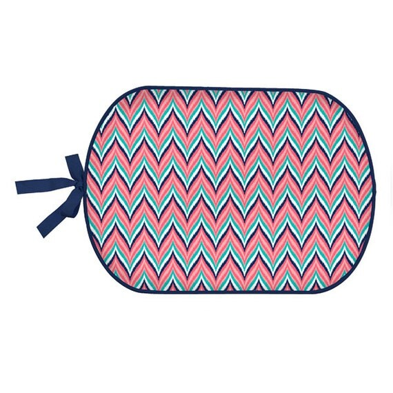 monogrammed navy and coral chevron booty buddy  pool mat